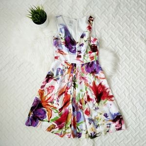 {Suzi Chin} Abstract Floral Fit and Flare Dress